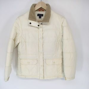 Lands End Ivory Puffer Jacket With Sherpa Collar